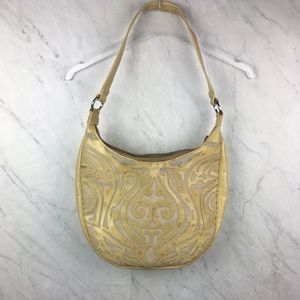 Sharif Cream & Gold Tribal Print Shoulder Handbag